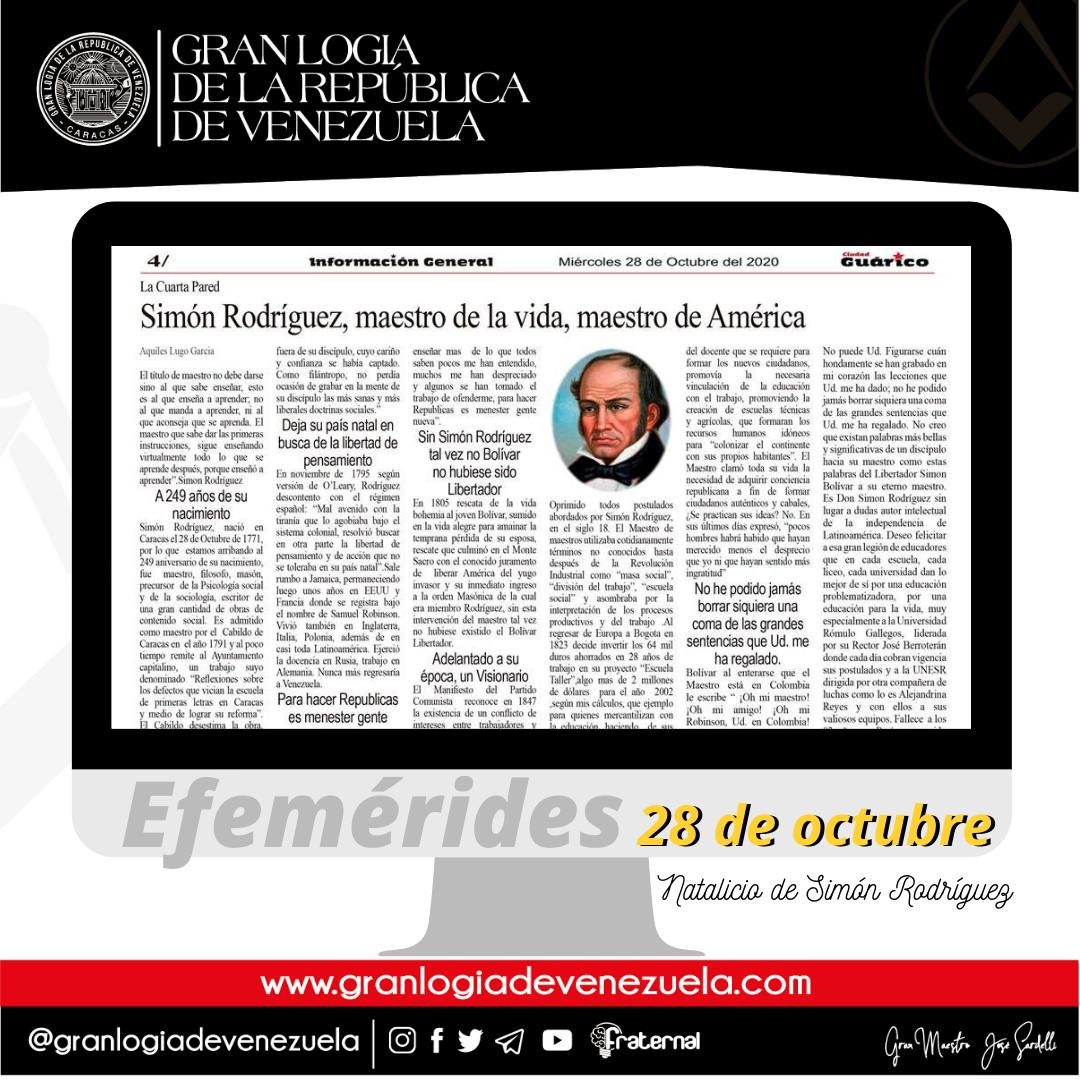 A L∴ G∴ D∴ G∴ A∴ D∴ U∴S∴ F∴ U∴ /  EFEMÉRIDES: Natalicio de Don Simón Rodríguez
